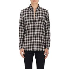 Saint Laurent Men's Plaid Cotton Flannel Western Shirt ($690) ❤ liked on Polyvore featuring men's fashion, men's clothing, men's shirts, men's casual shirts, mens shirts, yves saint laurent mens shirt, mens snap button shirts, mens western shirts and mens western style shirts