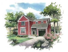 The Acorn, a charming New England style home with a base square footage of just over 1,500 square feet.
