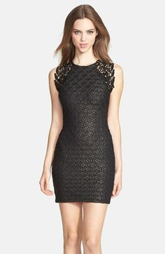 Dress the Population 'Lauren' Lace Detail Foiled Body-Con Dress available at #Nordstrom