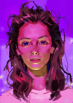 Artist: Qingbin Cao Uses a split complementary color scheme with violet and yellow; red-violet and yellow-green. Digital Portrait, Portrait Art, Art Sketches, Art Drawings, Wal Art, Illustration Art, Illustrations, Drawn Art, Poses References