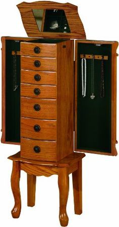 Coaster Traditional Jewelry Armoire, Oak - - Product Description: Traditional Jewelry armoire in a medium oak finish. Storage drawers and doors with lift top mirror.