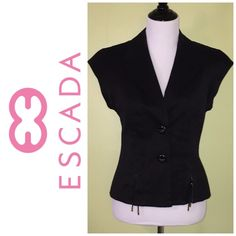Selling this ESCADA black two button short-sleeve jacket in my Poshmark closet! My username is: jdenny09. #shopmycloset #poshmark #fashion #shopping #style #forsale #Escada #Jackets