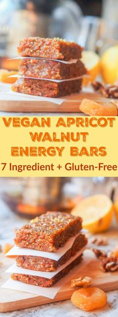 Walnut Dried Apricot Bars (GF) This 7 ingredient vegan apricot walnut energy bars recipe is packed full of healthy vitamins and nutrients. Perfect for taking with you on the go or as a quick breakfast or afternoon snack. Ready in 20 minutes. Healthy Protein Snacks, Healthy Bars, Healthy Treats, Healthy Breakfasts, Protein Bars, Dried Apricot Bars Recipe, Vegan Sweets, Vegan Desserts, Dessert Sans Gluten