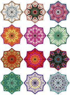 ArtbyJean - Paper Crafts: Digital Collage Sheets - Eight Pointed Star Medallions in a variety of colors and patterns, each one different. Islamic Patterns, Decoupage Paper, Asia, Digital Collage, How To Make Beads, Collage Sheet, Islamic Art, Mosaic Art, Bead Art