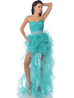 Strapless Sweetheart Organza Ruffle Prom Dress   Sung Boutique L.A.