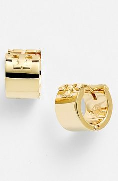 Free shipping and returns on Tory Burch Logo Hoop Earrings at Nordstrom.com. Signature Tory Burch Ts meet at the top of small, versatile hoop earrings that fit close to the ear.