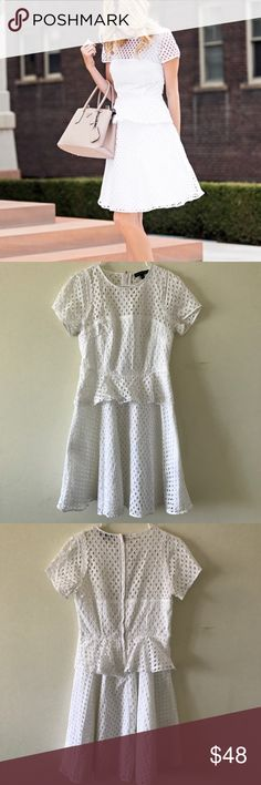 Banana Republic • White Eyelet Peplum Dress • Banana Republic  • Peplum dress • White  • Eyelet details • Short sleeve • Flare in waist • Lining underneath • Perfect condition   🌸 No trades. 15% off when you bundle at least two items from my closet. 🌸 Banana Republic Dresses Mini