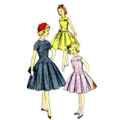 1950s Girls Drop Waist Pleated Dress Simplicity 1496 Vintage Sewing Pattern