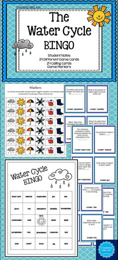 Water Cycle BINGO - Focused on content! - {My TpT Products} - Water Cycle BINGO – Focused on content! Science Lesson Plans, Science Resources, Science Lessons, Science Activities, Weather Activities, Science Experiments, Primary Teaching, Student Teaching, Teaching Science