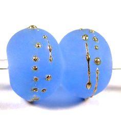 Etched Light Blue Handmade Lampwork Glass Beads Fine Silver Sea Glass @Covergirlbeads - Jewelry on ArtFire
