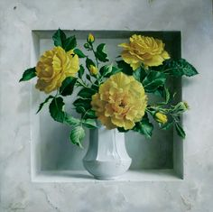I saw the painting flowers . Discussion on LiveInternet - Russian Service Online diary My Flower, Flower Art, 3d Wallpaper Living Room, Realistic Paintings, Painting Still Life, Yellow Roses, Botanical Art, Floral Arrangements, Floral Wreath