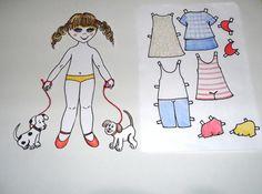 boneca de papel para vestir com cachorrinhos