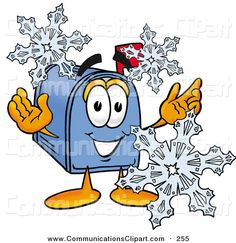 winter characters | ... Blue Postal Mailbox Cartoon Character with Three Snowflakes in Winter