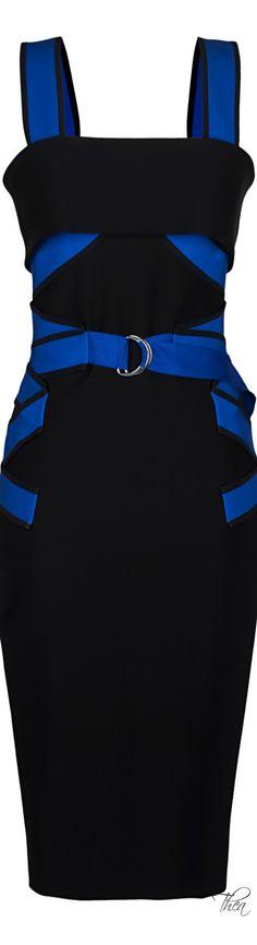 MUGLER ● Resort 2015, Milano Black And Electric Blue Dress