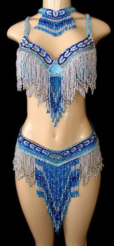 Irridescent Turquoise w/ Royal Blue & Silver Beaded Bellydance Costume
