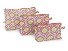 Cosmetic Bag 3 Piece Set in Sunrise Key ~ Great for travel too!  $20.00
