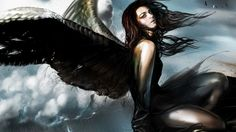 fiction fantasy girl wings angel HD wallpaper for computer or android device