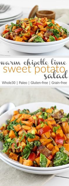 Add flavor to your plate with this Warm Chipotle Lime Sweet Potato Salad. It's a delicious Whole30-friendly side-dish and it's a great salad to enjoy during the colder months | Whole30 | Paleo | Gluten-free | therealfoodrds.com