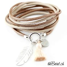 ROSE leather bracelet with sterling silver feather and tassel pendant
