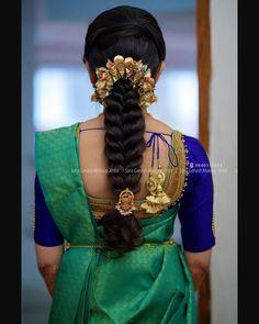 ❤️ For bridal bookings contact 9840312031 Bridal Hair Plaits, Bridal Hairdo, Hairdo Wedding, Long Hair Wedding Styles, Long Hair Styles, Bridal Bun, Bridal Makeup, Wedding Makeup, Saree Hairstyles