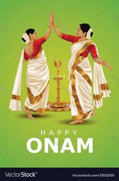 Onam Festival Kerala, Onam Greetings, Happy Onam, Festivals Of India, Kerala India, Adobe Illustrator, Vector Free, Celebration, Pdf