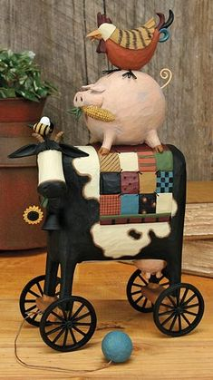 Cow, Pig and Rooster Pull Toy – Everyday Folk Art Figurines & Collectibles – Williraye Studio - $50.00