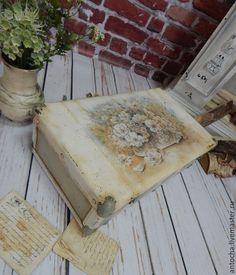 """Купить Чемодан """"Лето в корзине"""" - разноцветный, ретро, чемодан, винтаж, антикварный большой, лето, картон"""