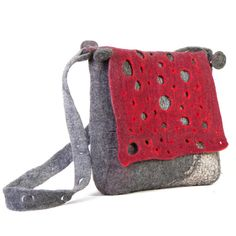 felt bag in red gray dot design by ArianeMariane