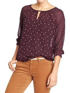 Old Navy | Women's Printed Chiffon Keyhole Blouse in Raisin Arizona & Women's The Rockstar Mid-Rise Cords in Burnt Ochre