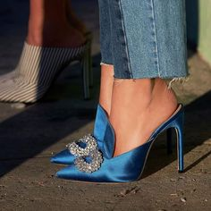 Shoe Inspiration | Blue Mules | Mules | Shoes | Gems | Jeans and Heels | Denim | Style