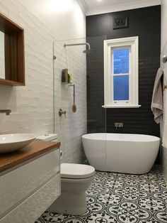 Cement Tile & Patterned Tile Floors in the Bathroom | The Happy Housie
