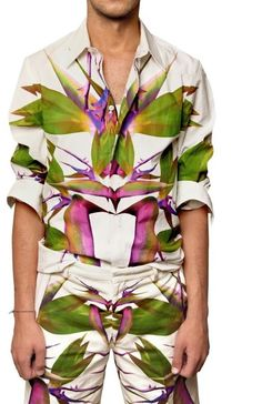 6b95663f6074 Givenchy - White Birds Of Paradise Printed Poplin Shirt for Men - Lyst