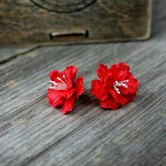 Mini Sakura studs earrings, spring flowers, Silver jewelry, polymer clay gift