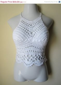 Crochet tank halter top crochet tank top white  by Elegantcrochets, $49.50