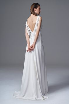THE VERA SILK CREPE DRESS WITH FRENCH EMBROIDERED FEATHERS. BRIDAL WEDDING DRESS…
