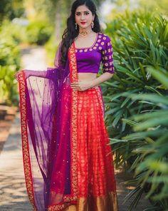 Half Saree Designs, Lehenga Designs, Blouse Designs, Mehndi Designs, Pink Half Sarees, Half Saree Lehenga, Bridal Lehenga, Choli Dress, Saree Blouse