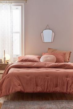 Skye Velvet Duvet Cover | Urban Outfitters Pink Comforter, Bedding Sets, Mauve Bedding, Blush Bedroom, Duvet Covers Urban Outfitters, Velvet Duvet, Home Decor Sale, Stylish Beds, My New Room
