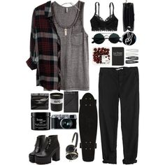 Grunge Fun by carol9801 on Polyvore featuring polyvore fashion style H&M Rails GG 750 American Eagle Outfitters Dr. Martens Marie Turnor Acne Studios Frends Forever 21 philosophy Moleskine Bella Freud cool black fun grunge