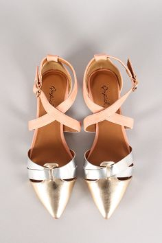 Qupid Pointer-73 Metallic Cut Out Strappy Pointy Toe Flat