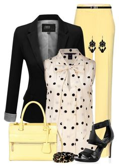 Black, White, and Yellow by maggie478 on Polyvore featuring polyvore, fashion, style, J.TOMSON, Miu Miu, White House Black Market, Modalu, Morgan, Yves Saint Laurent, women's clothing, women's fashion, women, female, woman, misses and juniors