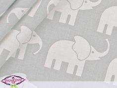 Stoff Elefantenparade grau/weiss extra breit
