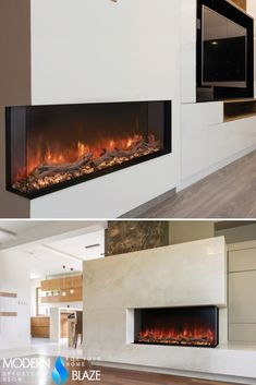 This fireplace is more than just a gorgeous wall accent. Easily configured for or installation, it is a designer's dream come true! Sizes range from to a whopping in width! 3 Sided Fireplace, Fireplace Tv Wall, Fireplace Inserts, Fireplace Ideas, Fireplace Design, Fireplace Mantels, Realistic Electric Fireplace, Wall Mount Electric Fireplace, Electric Fireplaces