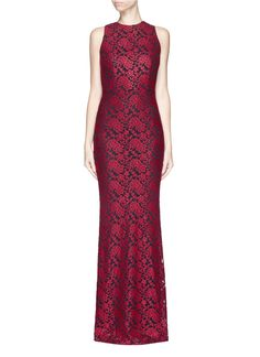 941ed0400028 ALICE + OLIVIA  Roxie  embroidered diamond back gown