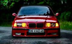BMW E36 M3 red slammed stance