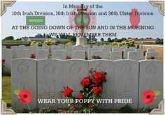 10th & 16th Irish Division & 36th Ulster Division Lest We Forget, Patriots, Division, Poppies, Irish, Military, Culture, Memories, Sun
