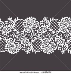 Lace Ribbon Seamless Pattern - Buy this stock vector and explore similar vectors at Adobe Stock Border Embroidery Designs, Embroidery Patterns, Lace Design, Pattern Design, Lace Stencil, Lace Drawing, Lace Tattoo, Tattoo Black, Tattoo Ink