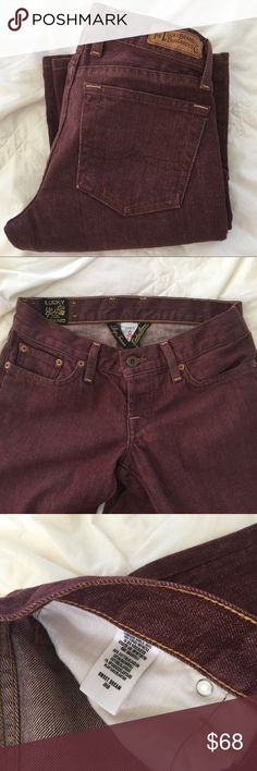 """Lucky Brand Dungarees SWEET DREAM Jean Lucky Brand Sweet Dream 5 pocket jeans. The color is a stunning shade of cranberry.  These specific jeans are hard to come across 🔥🔥  Made in the USA 🇺🇸 NWOT ... Laundered once, and have never  been worn.  Rise 7"""" Length 32"""" Price is Firm 😉 Lucky Brand Jeans"""