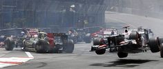 Grand Prix de Monaco 2012, la course : Kamui Kobayashi is launched into the air at the start #MonacoGP #F1 #Formula1