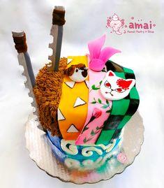 Cute Snacks, Cute Desserts, Cute Food, Fondant Cakes, Cupcake Cakes, Anime Cake, Cool Cake Designs, Cute Birthday Cakes, Demon Slayer