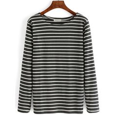 Grey White Elbow Patch Striped T-Shirt (34 RON) ❤ liked on Polyvore featuring tops, t-shirts, multicolor, striped t shirt, striped long sleeve t shirt, long sleeve tee, striped long sleeve tee and white long sleeve tee